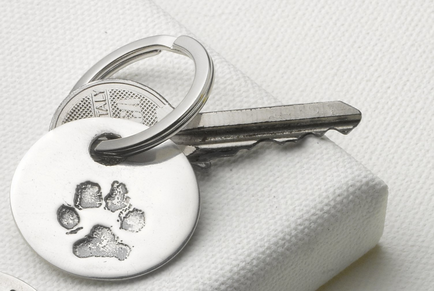 Personalized Keyring with Your Own Pet's Paw Print by Silver Print Creations
