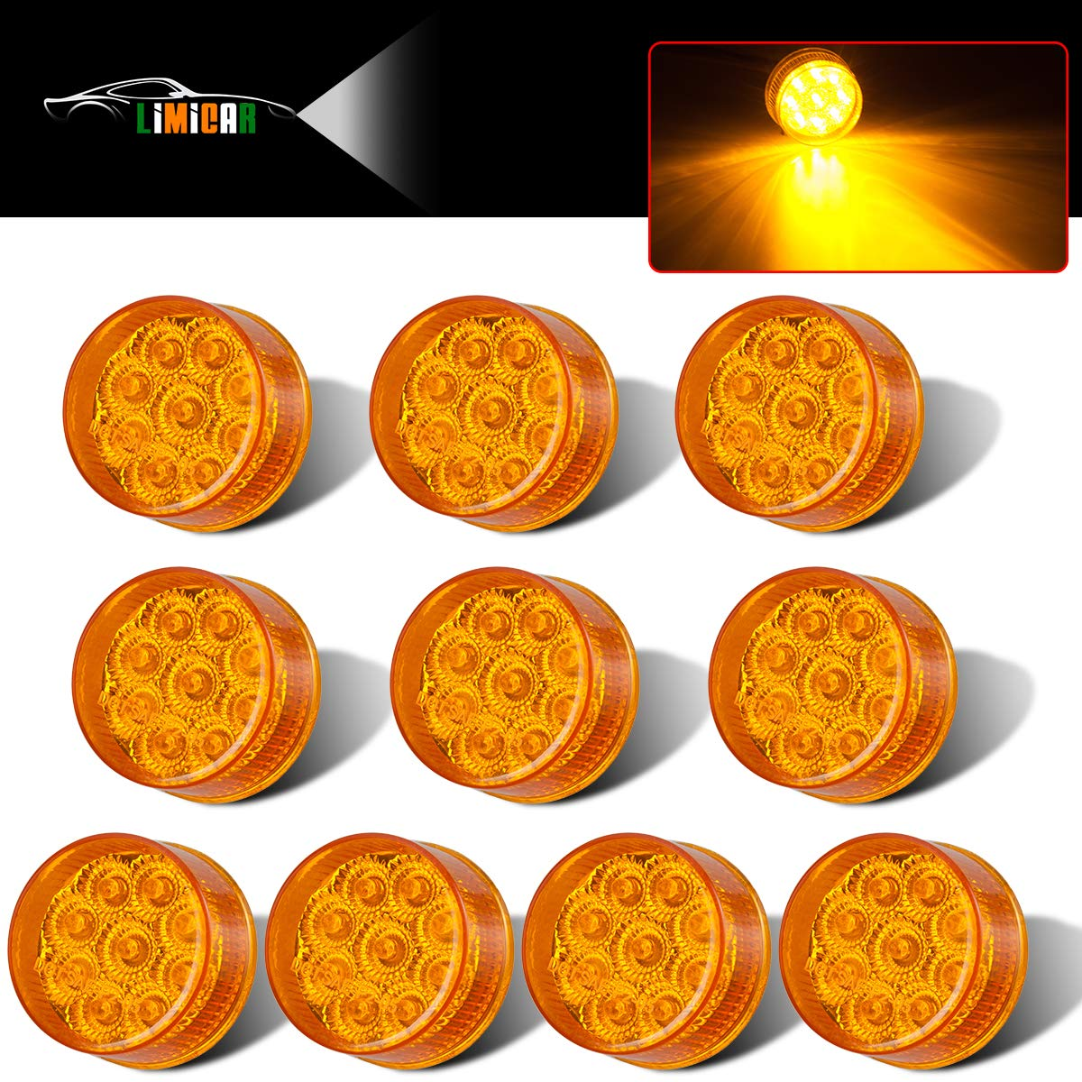 LIMICAR 10PCS Amber 2' Round Marker 9 LED Side Fender Marker Light with Reflector Sleeper Panel Light for Top Roof Truck Bed Traliers 2 Round Clearance Marker Lights