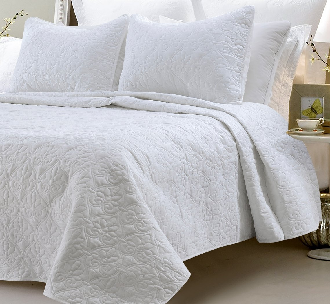 Web Linens Inc Oversized - 3 Piece 100% Cotton Quilted Coverlet Set - White - King/California King 104 x 96 Inches Wrinkle/Fade Resistant Light Weight Luxurious All Season Super Soft Machine Washable