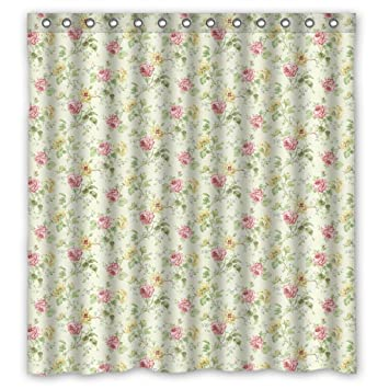 Ancient Vintage Style Flower Floral Blossom Warm Shower Curtain 66X72