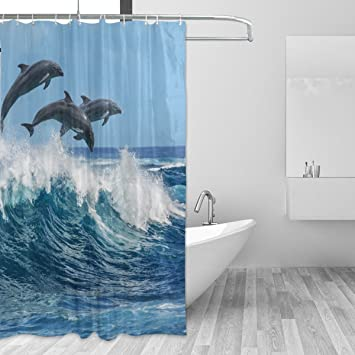 Ocean Dolphin Shower Curtain For Bathroom 72x72 Inches Bath Hooks Mildew Resistant Waterproof Polyester