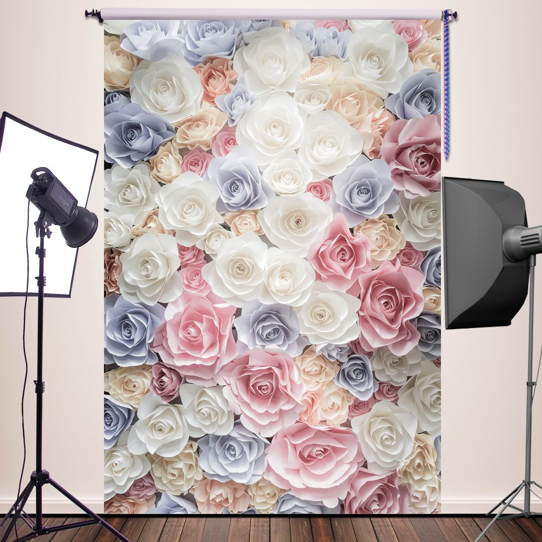 HUAYI 5x7ft Photography Backdrops Valentine's background Pink White Flowers Wall Newborn Baby Photo Studio Props YJ-385