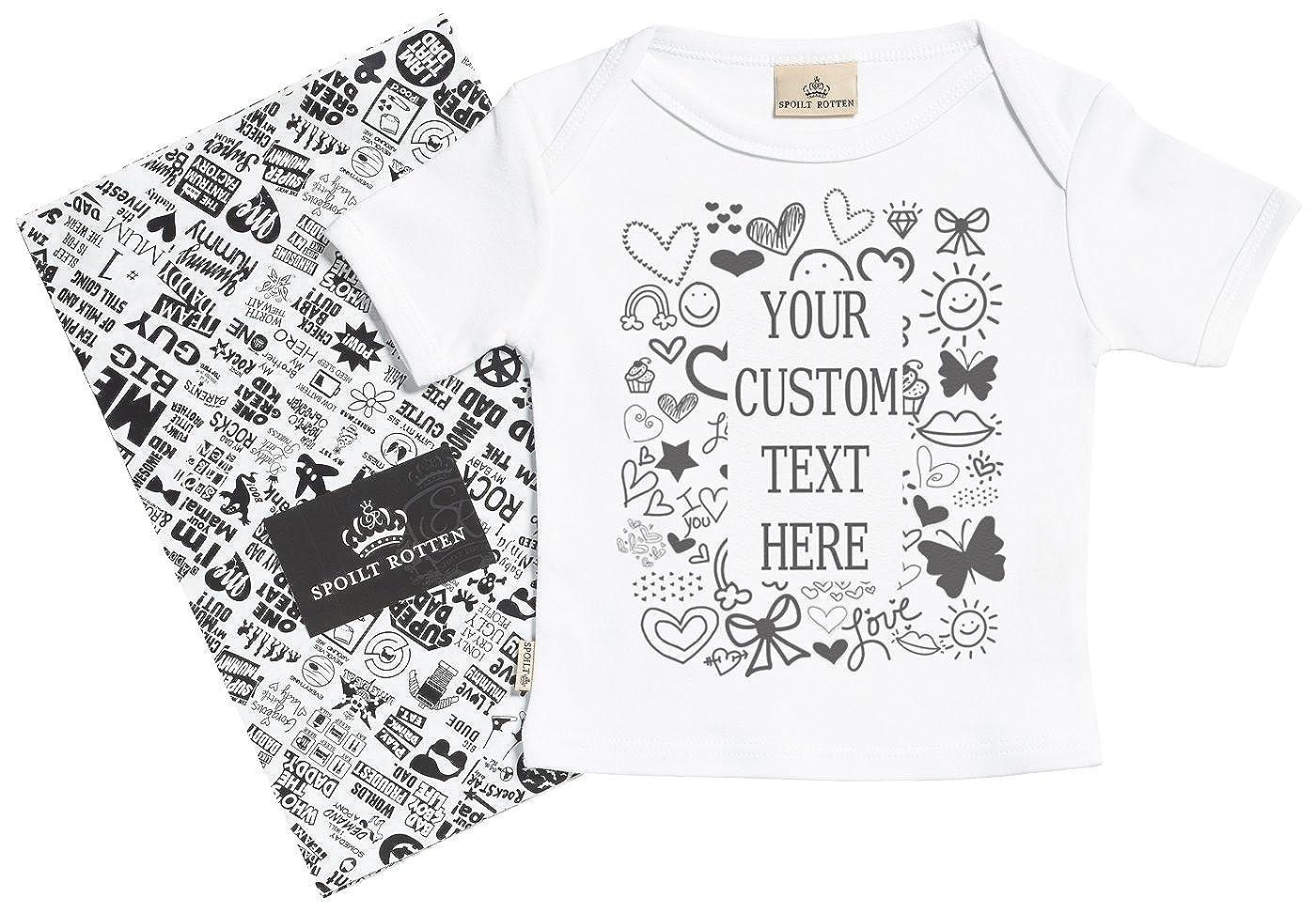 687ea6d46 Spoilt Rotten Personalizados Bebé Custom Text Here Camisetas Personalizados  Para Bebé Niño - Camisetas Personalizados Para Bebé Niña - Conjunto Regalo  del ...