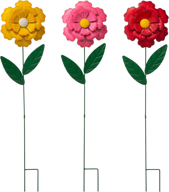 Glitzhome 3 Set Metal Flower Yard Stake, 39.5