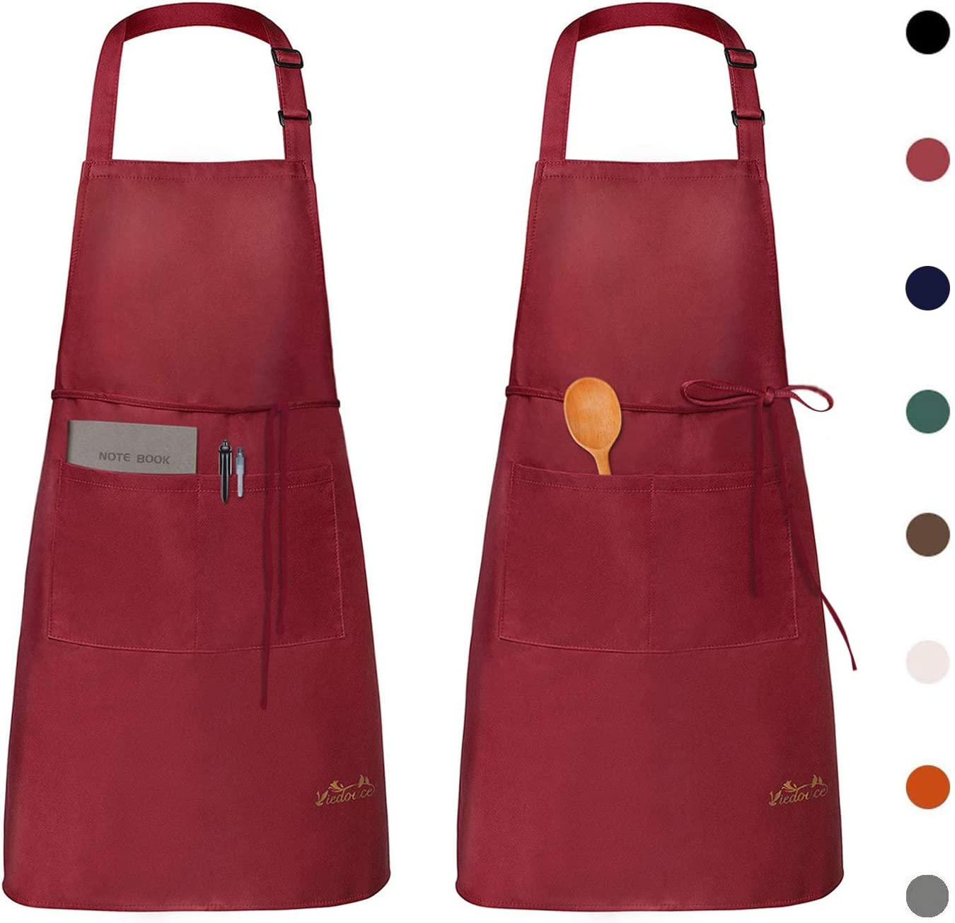 Viedouce Womens Mens Aprons with Pockets Durable Restaurant Aprons for Chefs Pocket Apron 2 Pack, Red