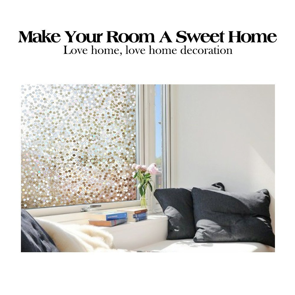 "RABBITGOO No Glue Privacy Window Film Decorative Window Film Static Cling Window Film Circles Pattern Glass Film for Home Kitchen Office Bedroom Living Room 17.5"" x 78.7'' by RABBITGOO (Image #4)"