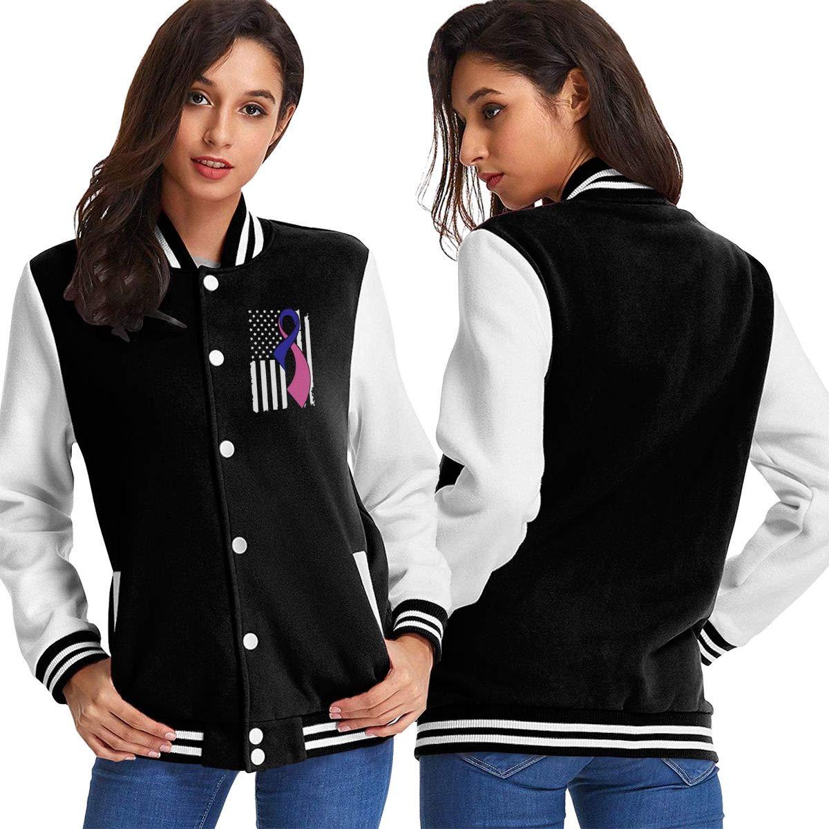 Thyroid Cancer Awareness Flag Womens Casual Baseball Varsity Jacket Cotton Coat
