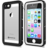 iPhone 5/5S/SE Waterproof Case, SPIDERCASE Full Body Protective Cover Rugged Dustproof Snowproof IP68 Certified Waterproof Case with Touch ID for iPhone 5S 5 SE (White&Clear)