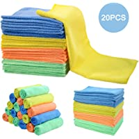 MASTERTOP 20Pcs/Pack Super Absorbent Cleaning Cloths Professional Microfiber Cleaning Towels Dust Rags for Kitchen Car Dish Household (30 * 40cm, 4 Colors)