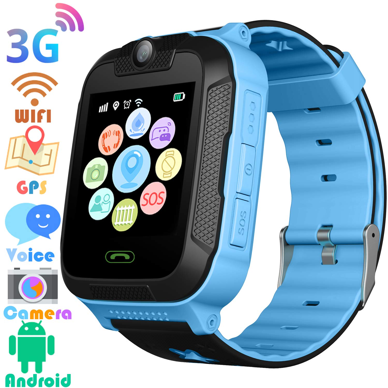 3G Kids Smart Watches GPS Tracker – Kids Android Smart Watch Phone for Boys Girls with 1.4″ Touch Screen Fitness Tracker Phone Camera Video Recorder Flashlight with T-Mobile/at&T