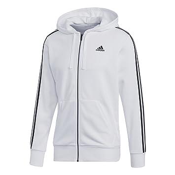 adidas Essentials 3-Stripes Hoodie Men s, White Black, XS  Amazon.co ... 16c572d43e