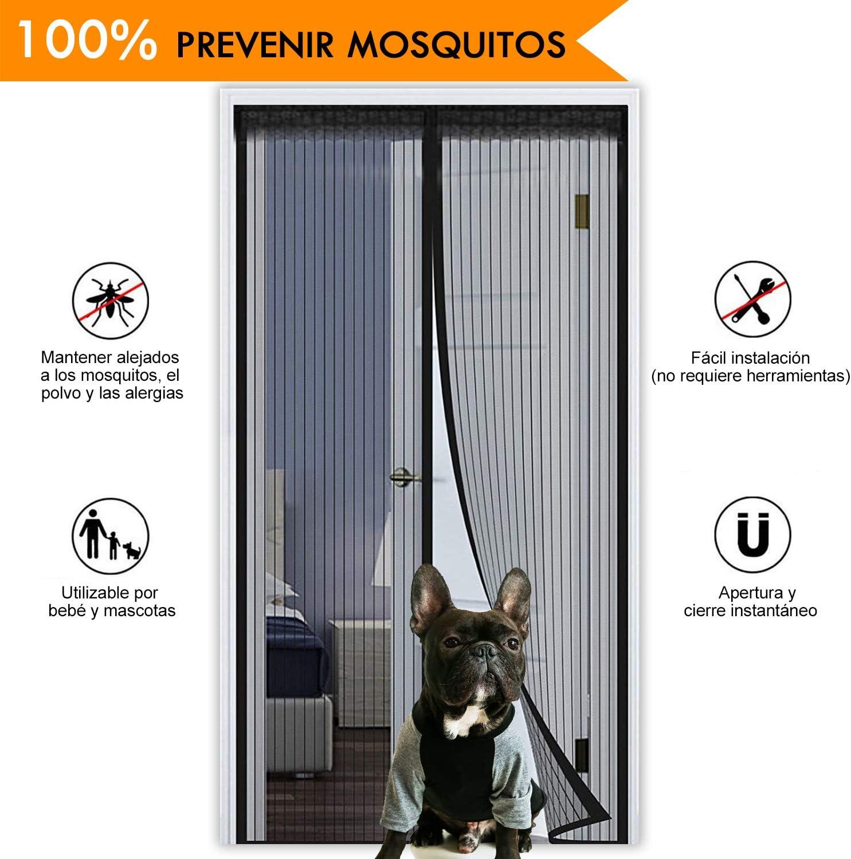 Cortina de mosquitos, HIEHA Puerta 90 x 210cm, protección de ...