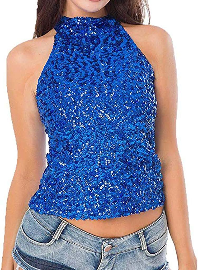 F/_Gotal Womens Shimmer Sequins Embellished Sparkle Tank Tops Casual Loose Summer Sleeveless Tunic Tops Blouse Shirts