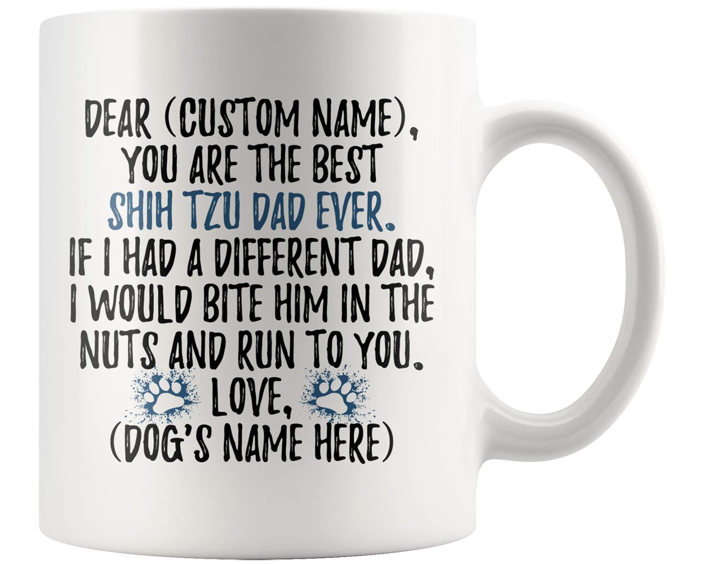 Personalized Shih Tzu Dog Men Gifts, Shih Tzu Dad Present Gift, Shitzu Daddy Mug, Shih Tzu Owner Gift, Chrysanthemum Dog Dad Gift (11 oz)
