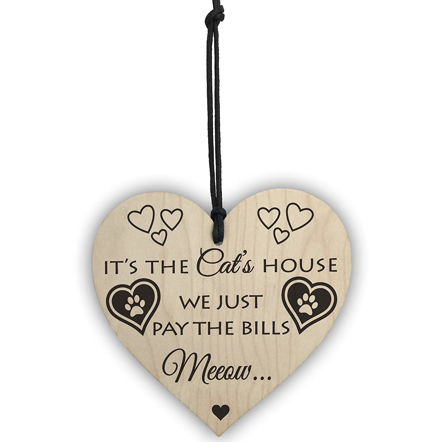 RED OCEAN Its The Cats House Novelty Wooden Hanging Heart Plaque Cat Lovers House Sign