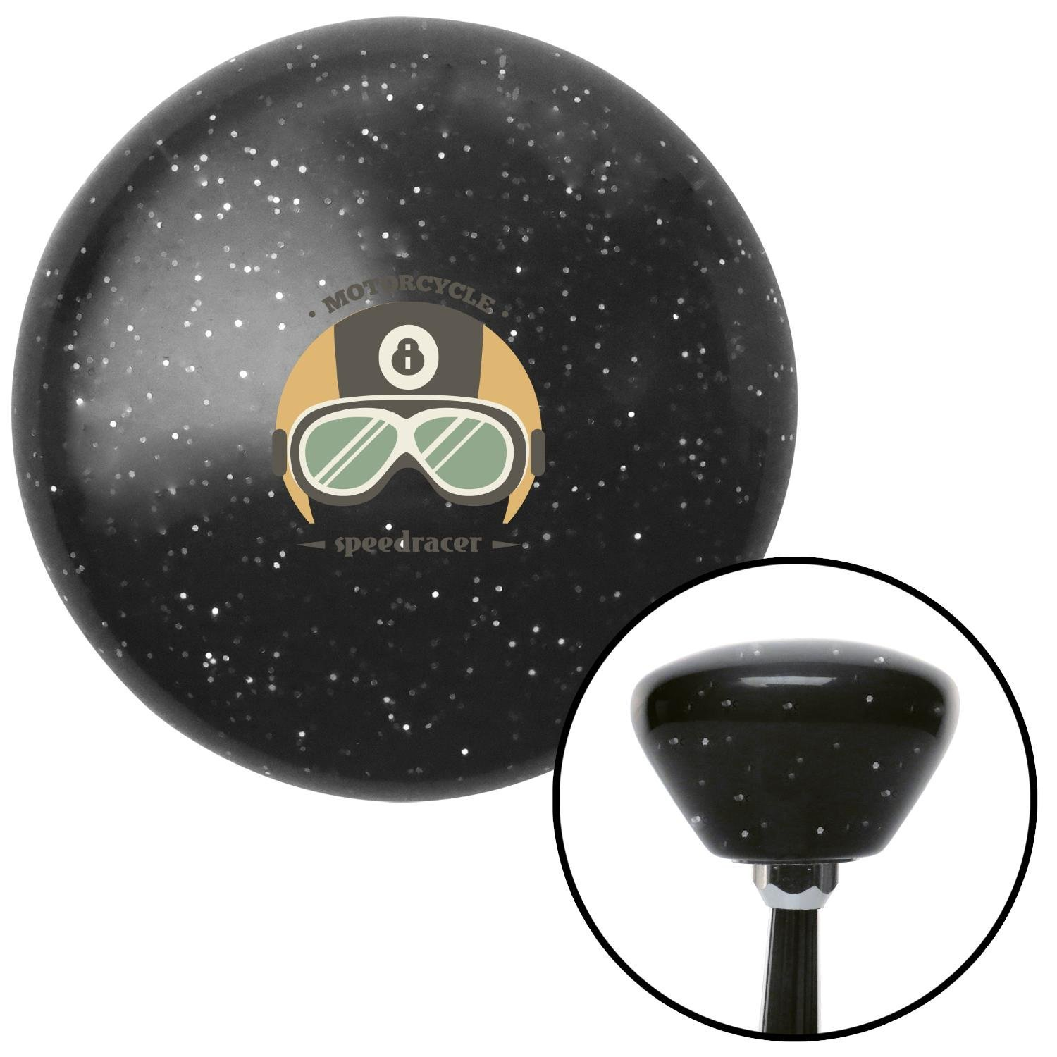 American Shifter 287364 Shift Knob Motorcycle Speedracer Black Retro Metal Flake with M16 x 1.5 Insert