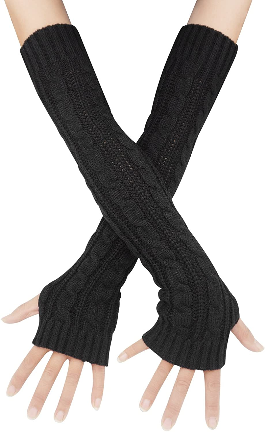 Voberry Womens Hand Cable Knitted Long Arm Warmers Fingerless Gloves Thumb Hole Gloves Mittens