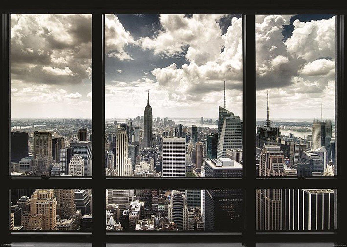 Blick aus dem fenster poster  Amazon.de: New York Poster Skyline Fenster (140cm x 100cm) + Ü-Poster