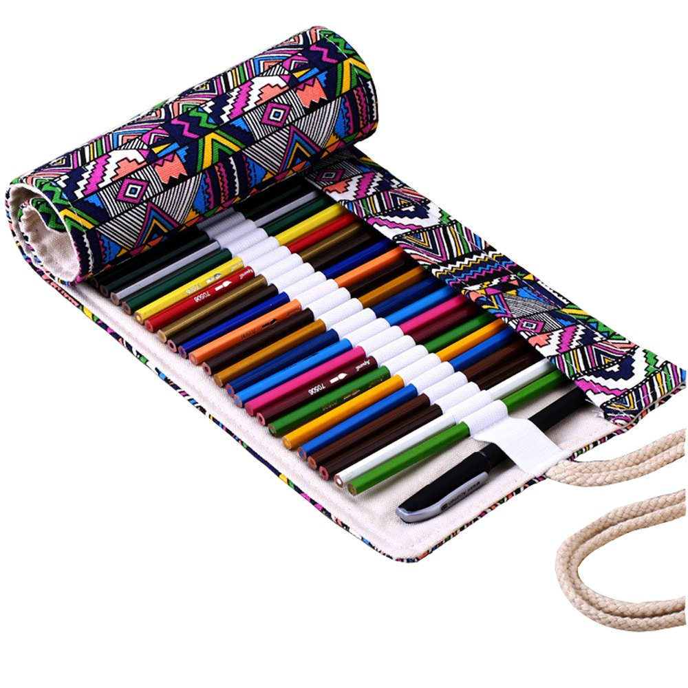 Pen Holder Geometric Pattern Canvas Roll Up Pencil Pouch Bag with 72 Slots MosBug PW-002