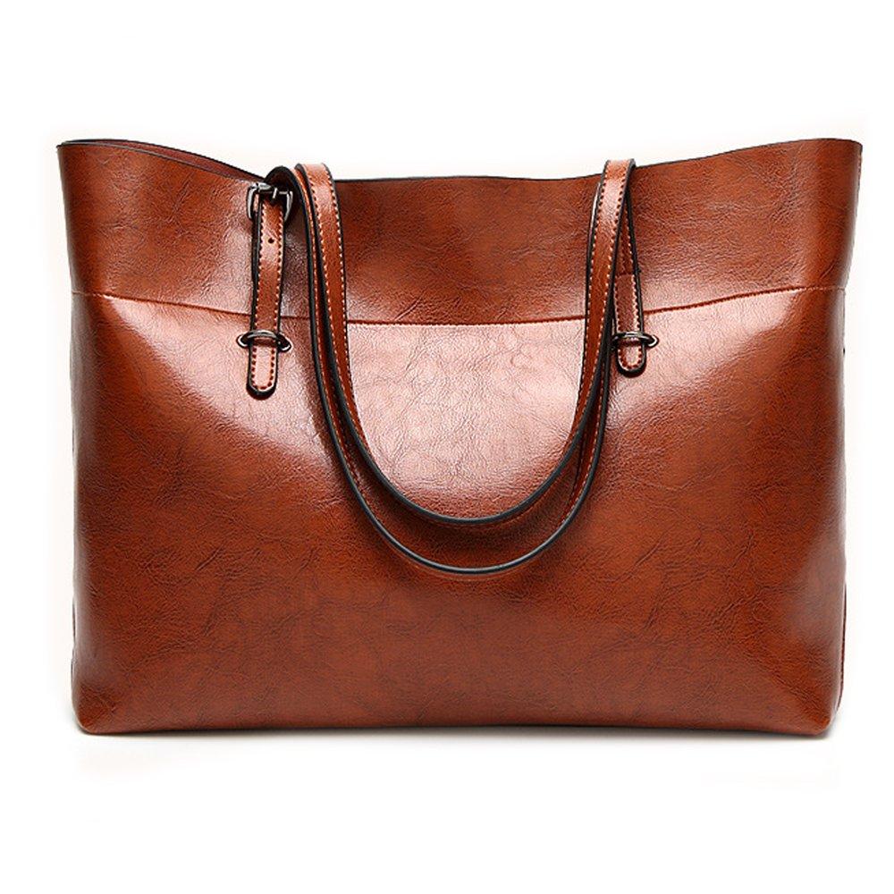 Leather Tote Bag for Women, Large Commute Handbag Shoulder Bag Lady Zipper Women's Work Satchel Bag (brown)