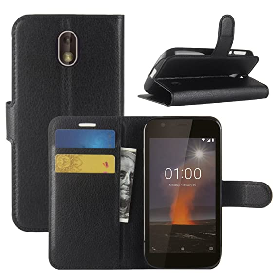 new product 5b457 4e094 Nokia 1 Case, Fettion Premium PU Leather Wallet Flip Phone Protective Case  Cover with Card Slots and Magnetic Closure for Nokia 1 Smartphone (Black)