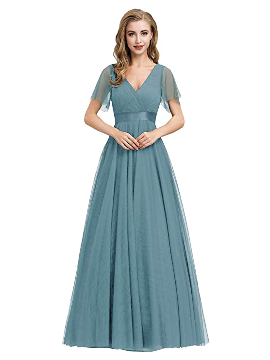 Edwardian Evening Gowns | Victorian Evening Dresses Ever-Pretty Womens Double V-Neck Empire Waist Front Wrap Bridesmaid Dress 7962 $42.99 AT vintagedancer.com