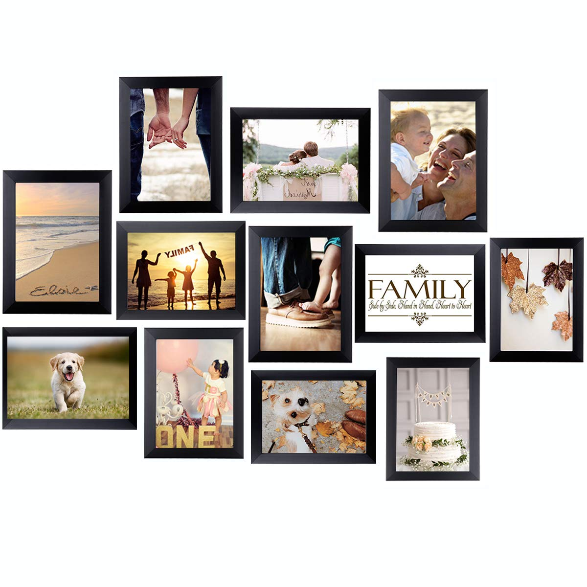 Homemaxs 5x7 Picture Frame Collage Gallery Wall Frame 12 Pack Photo Frames Collage Picture Frames for Wall or Tabletop Black by Homemaxs