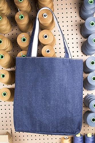 27100d4c2405 Amazon.com: DENIM TOTE BAG by JOHN ADDISON | Indigo | Organic Cotton ...