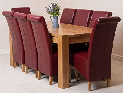 Oak Furniture King Kuba 180x90cm Chunky Oak Dining Table With 8 Chairs Dining Set Montana Burgundy Amazon Co Uk Kitchen Home
