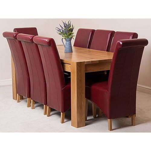 Table with 8 chairs amazon kuba solid oak 180 x 90 x 78 cm dining room kitchen table 8 burgundy watchthetrailerfo