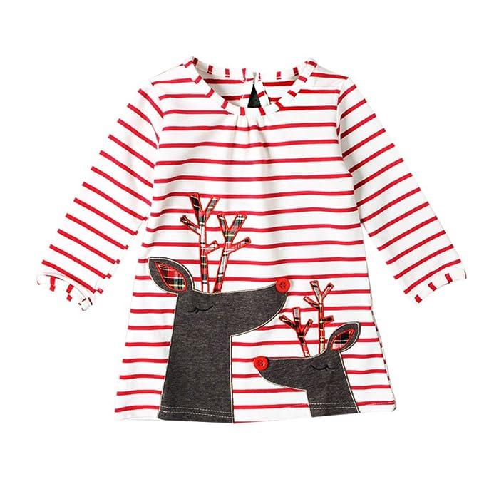 Hzjundasi Niños Chicas Pijama Vestido Navidad Camisón Mangas largas Raya Patrón Pijama Child Vestido 2-