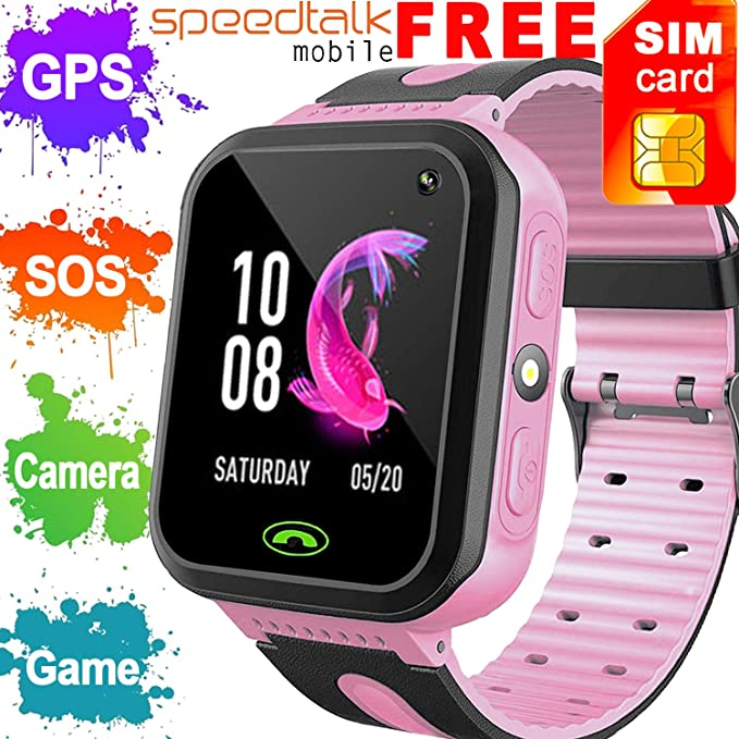 cb6fd3eb6a9 [SIM CARD INCLUDED]Upgrade Kids Smart Watch Phone GPS Tracker for Boys  Girls Holiday Electronic Toy Gift Smart Wrist Watch with Camera Fitness  Tracker ...