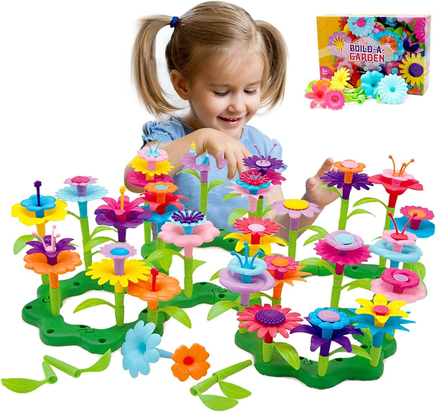 Barchrons Flower Garden Building STEM Toys Gardening Pretend Gift for Girls Kids Toy Educational Activity for Preschool Children Age 3 4 5 6 7 Year Old - Stacking Game for Toddlers playset (109pcs)