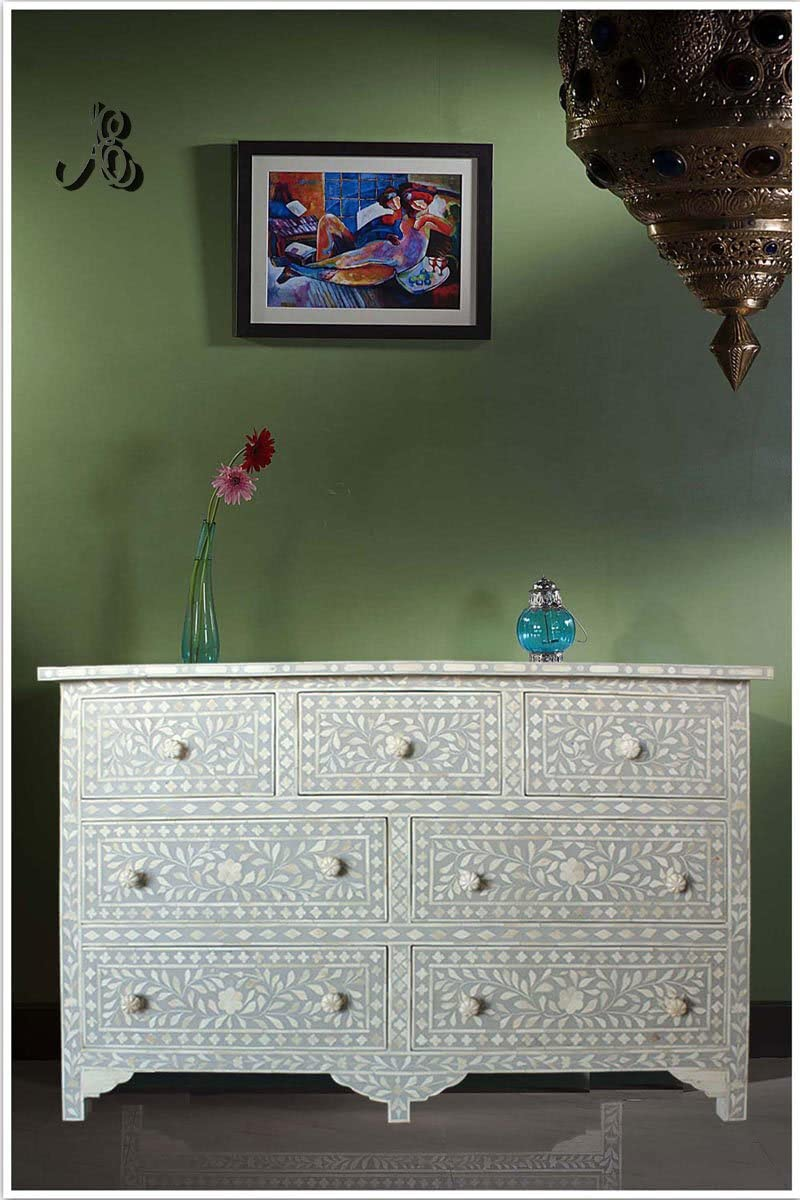 ACE CRAFTIQUE Wooden Handmade Bone Inlay Grey Sideboard Chest of Drawer for Bedroom - 7 Drawers and Storage