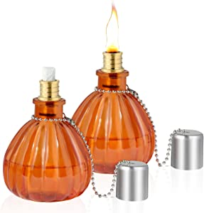 LANMU Glass Table Torch,Citronella Bottle Torch Kit, Outdoor Patio Garden Torch Decor for Party/Halloween/Thanksgiving/Christmas (2 Pack)