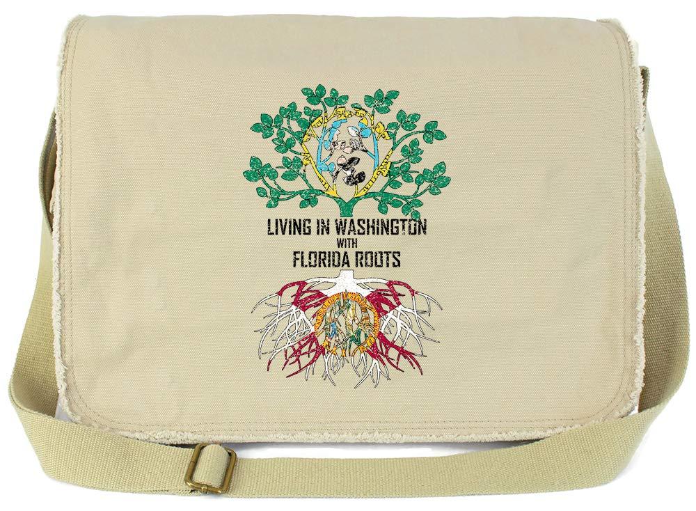 Tenacitee Living In Washington with Florida Roots Grey Brushed Canvas Messenger Bag