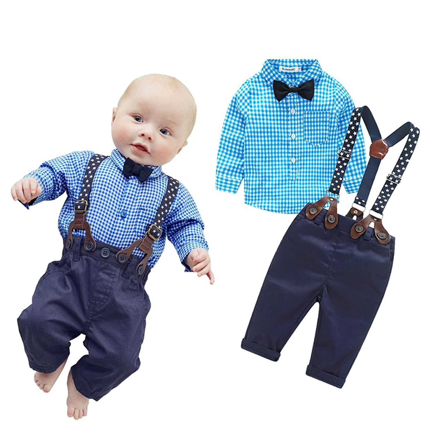 Amazon.com: Top and Top 2 Pieces Baby Boys Long Sleeve Plaid Shirt ...