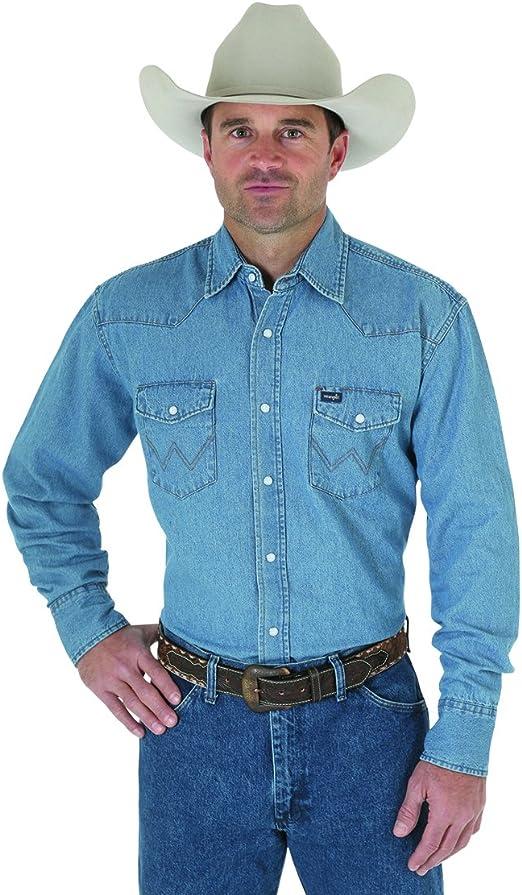 Joe Wenko Mens Long Sleeve Washed Lapel Neck Denim Classic Button Down Shirts