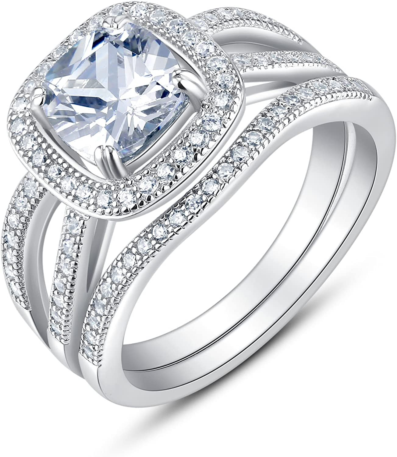 Milgraine Sterling Silver CZ Solitaire Engagement Ring with Accented Shank