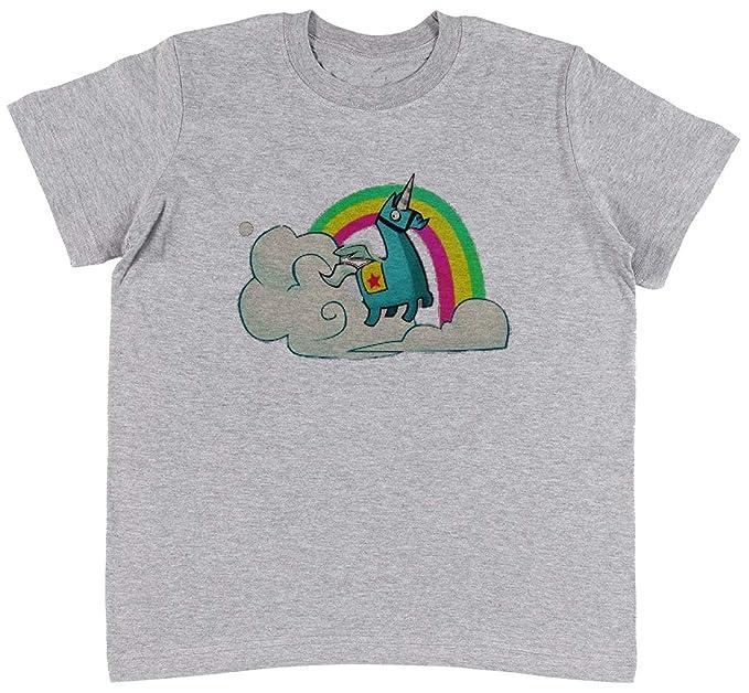 Fortnite - Llama Unicornio Unisexo Niños Gris Camiseta Niño Niña Tamaño M | Unisex Kids Grey T-Shirt Size M: Amazon.es: Ropa y accesorios