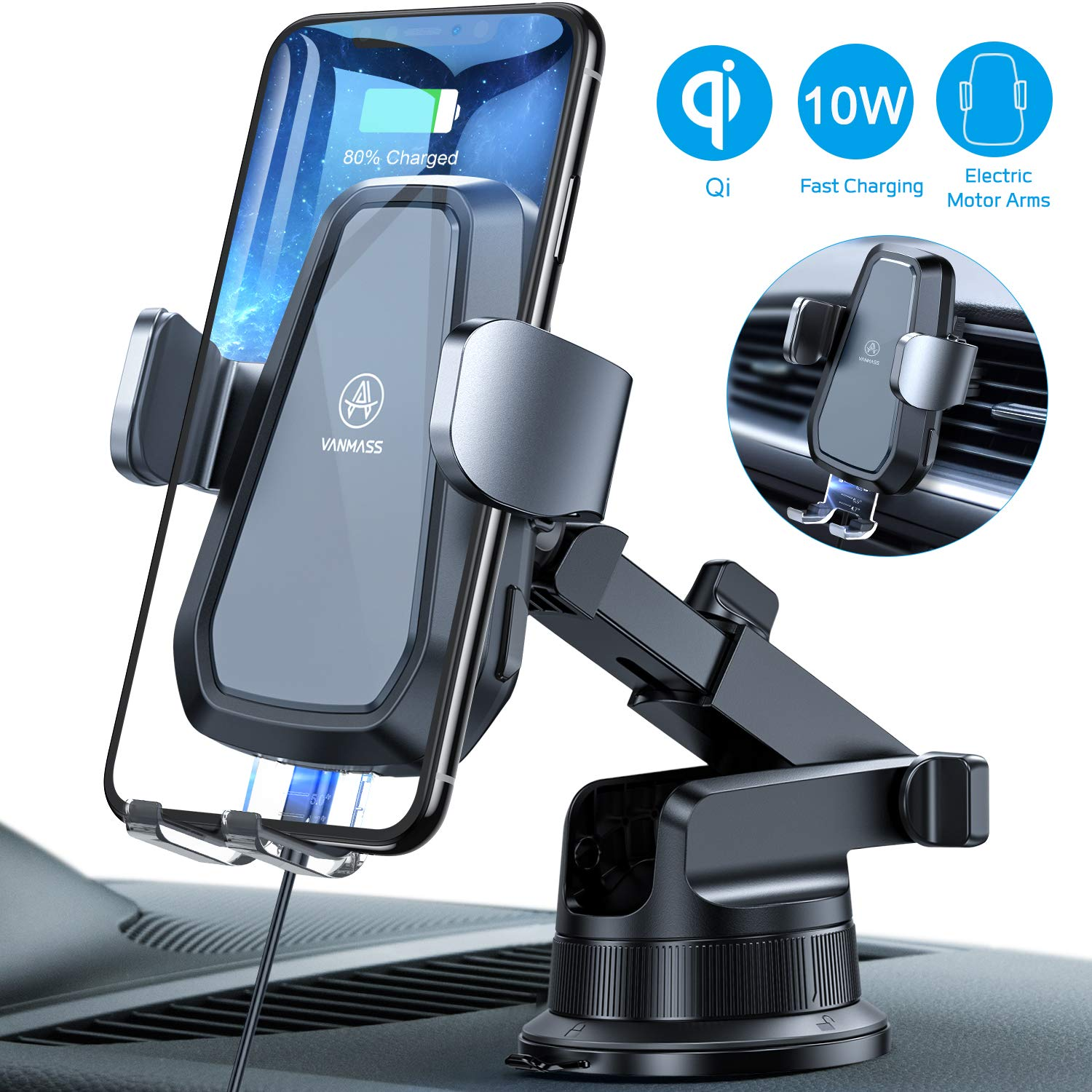 VANMASS Wireless Car Charger Mount, Automatic Clamping Qi 10W 7.5W Fast Charging Car Mount, Dashboard Air Vent Phone Holder Compatible with iPhone 11 Pro Max Xs X 8, Samsung S10 S9 Note10, Rotate Lock by VANMASS
