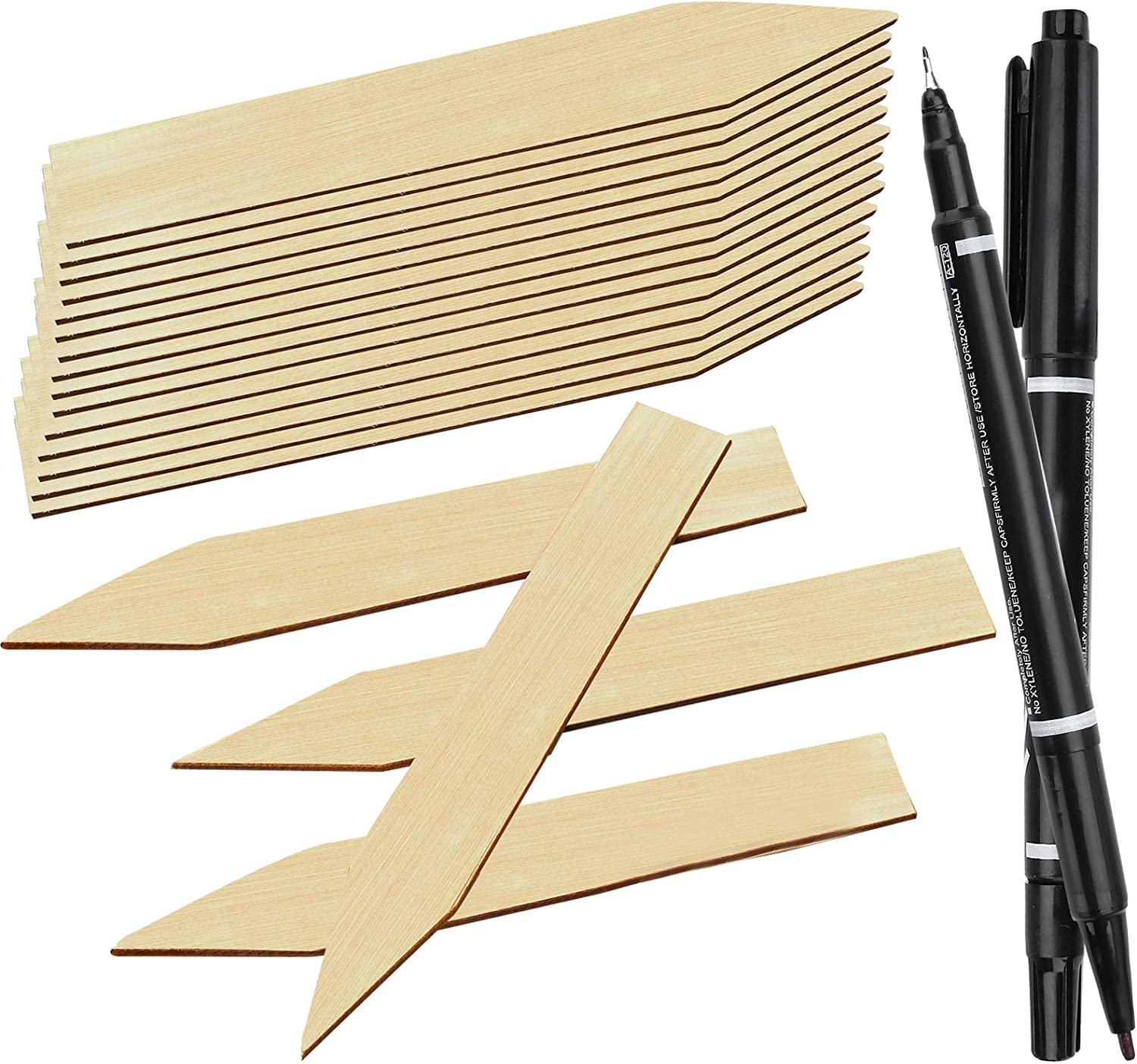 JatilEr 56PCS Bamboo Plant Labels with 2 Marker Pen, Pointed Wooden Plant Tags, Natural Garden Markers for House, Garden, Seed Plant Identification(15 X 2 cm)
