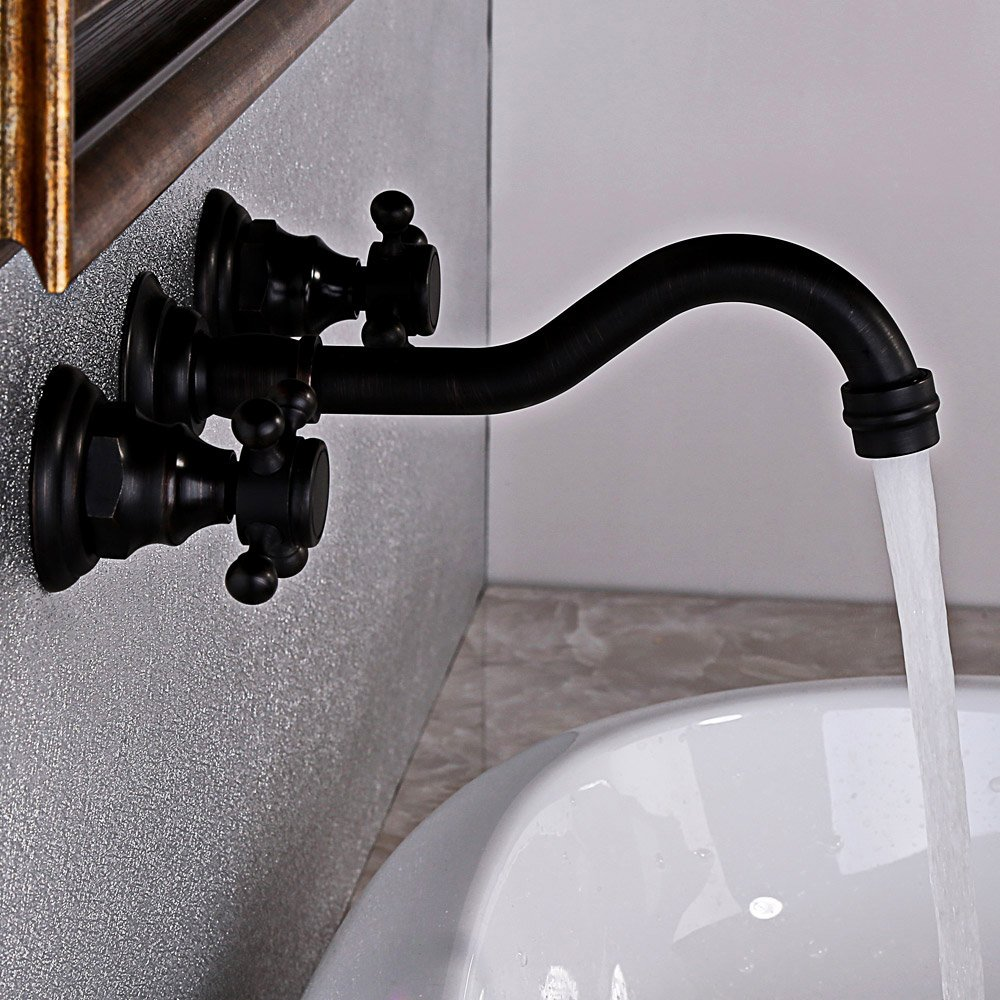 Antique Black Bathroom Sink Faucet Solid Brass Widespread Basin Mixer Tap  Wall Mount     Amazon.com