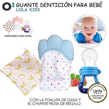 O³ Guante Dentición Bebé Lola Kids + 1 Gasas Bebe Algodon Muselina + 1 Chupete Fruta – 2 Versiones | Guante Mordedor Bebé – Ayuda La Dentición – ...