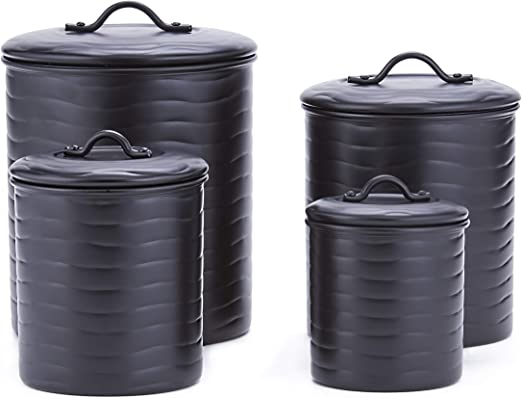 Old Dutch 4 Pc. Wave Matte Black, w/Fresh Seal Covers Canister Set, 8.5qt