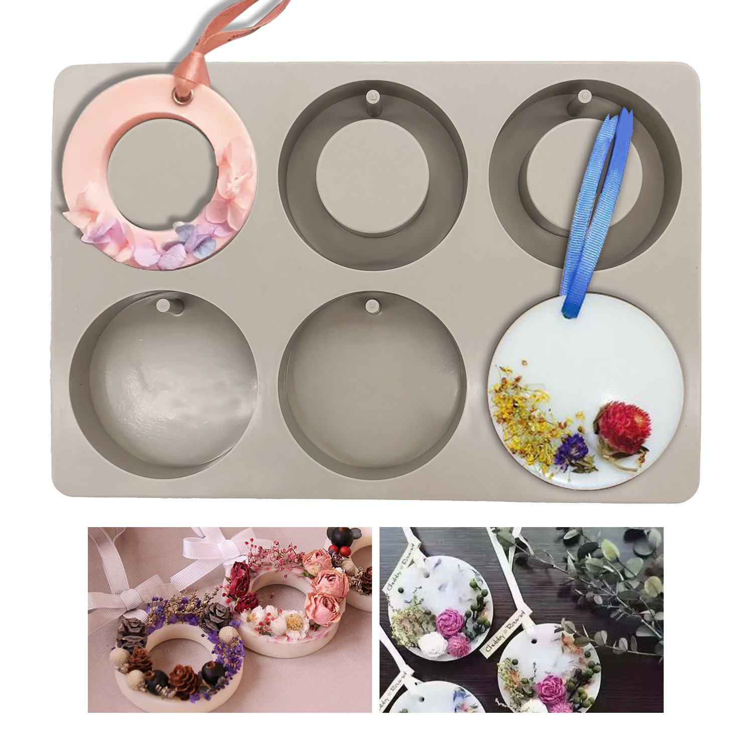 Silicone Wax Molds, KOOTIPS Round Ring Resin Jewelry Molds Making with Hanging Hole for DIY Jewelry Craft Making Kootips-1-4284