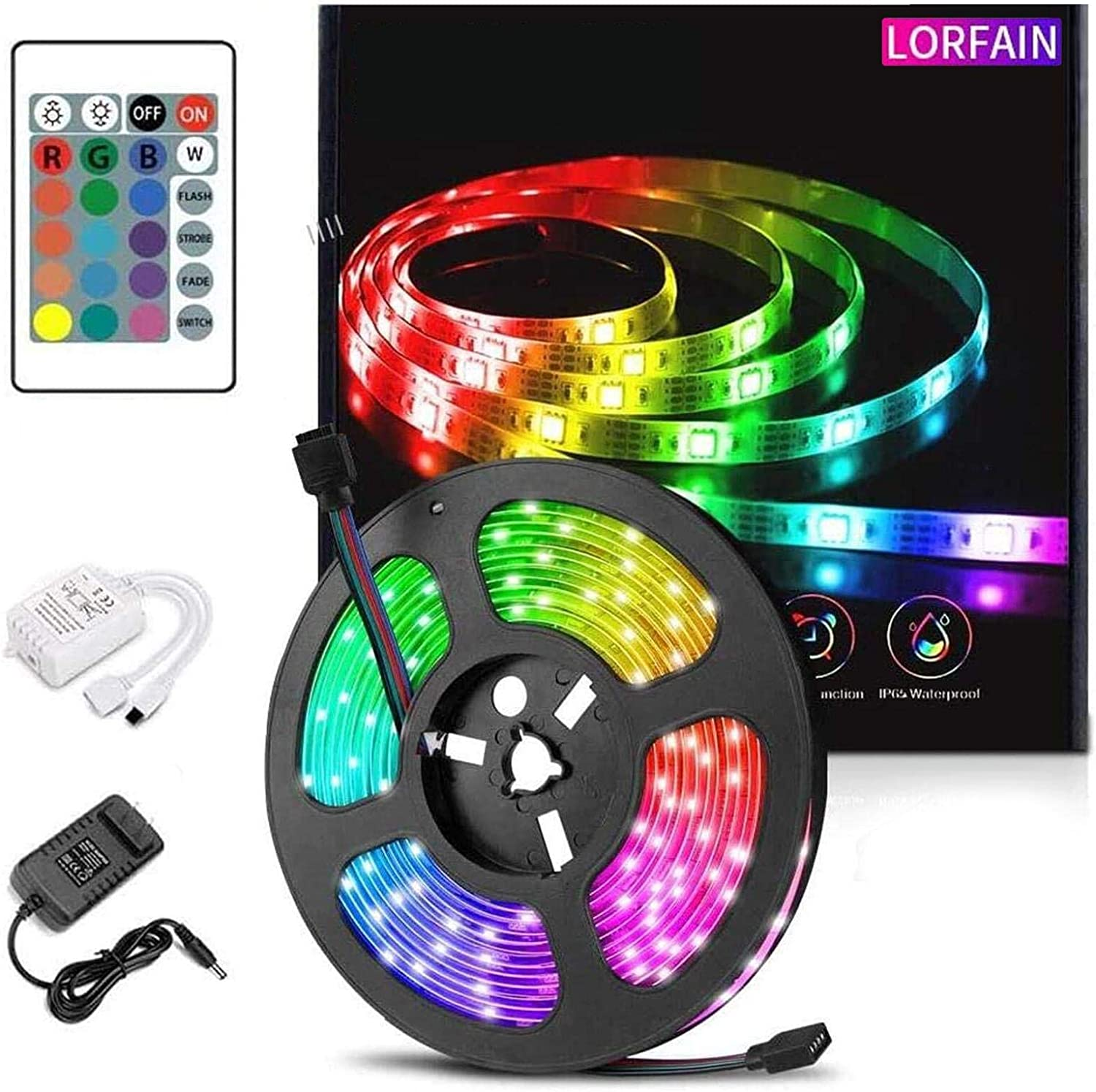 MAX.64Ft 5050 SMD RGB LED Strip Light Kits Remote Power Room Party Fairy Lights