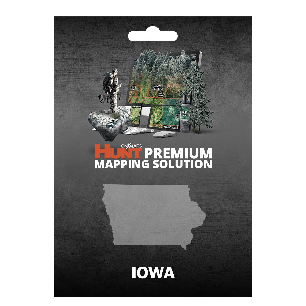onXmaps HUNT Iowa: Digital Hunting Map For Garmin GPS + Premium Membership For Smartphone and Computer - Color Coded Land Ownership - 24k Topo - Hunting Specific Data