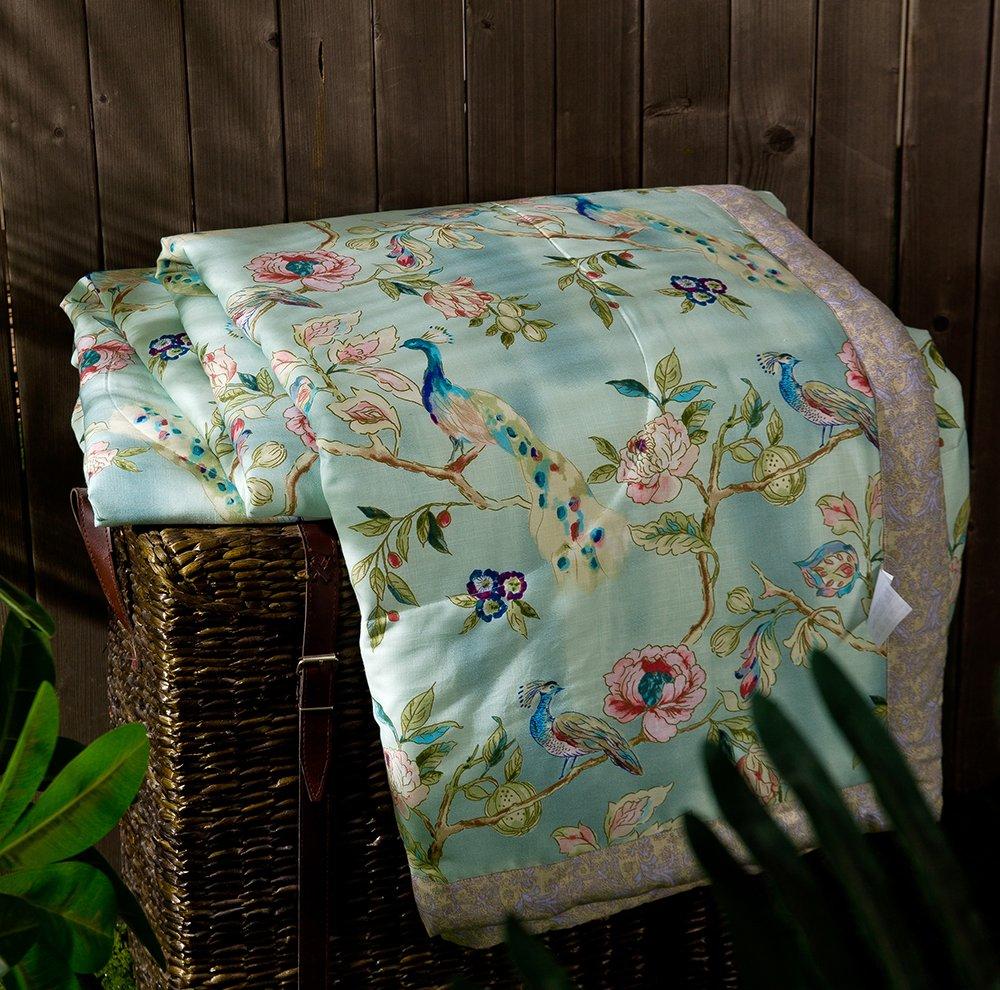 Enjoylife Elegant Style Flowers Printed Patterns 1-Piece Thin Quilt Tencel Linen Summer Comforter 200x230 cm Bedspread Flower 2