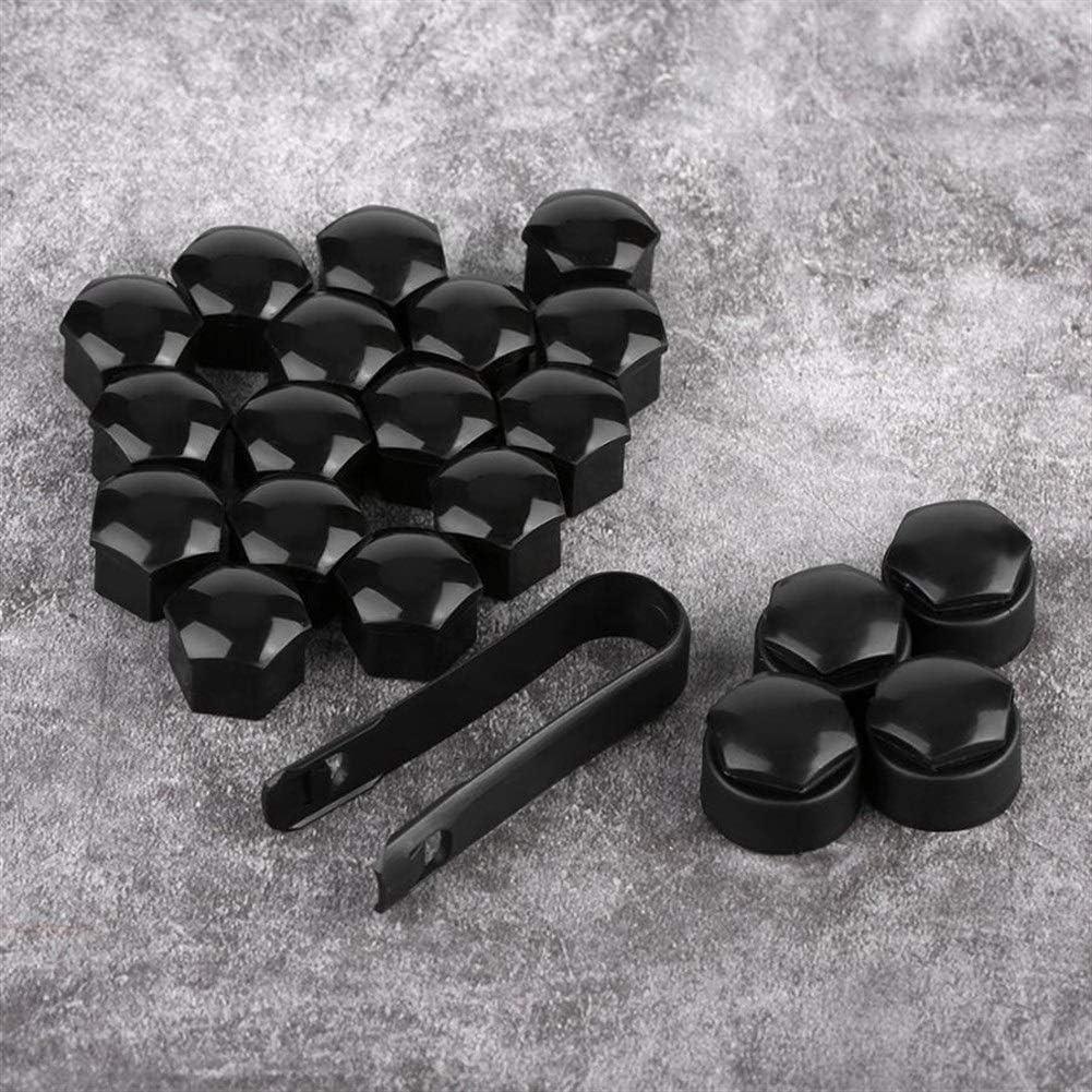 Color : Black Wholesale Protector de tornillo 20pcs 17mm Tuerca Rueda de coche Auto Hub Tornillo Protecci/ón Tapa antirrobo for Audi Car accesorios de alta calidad